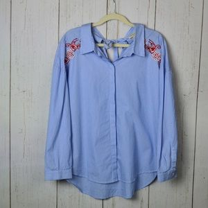 Cloth & Stone blue striped embroidered Button up